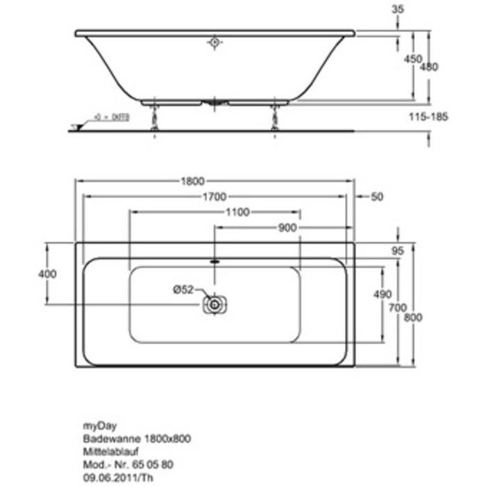 Keramag Design B80/Myday bad 180 x 80 cm Wit