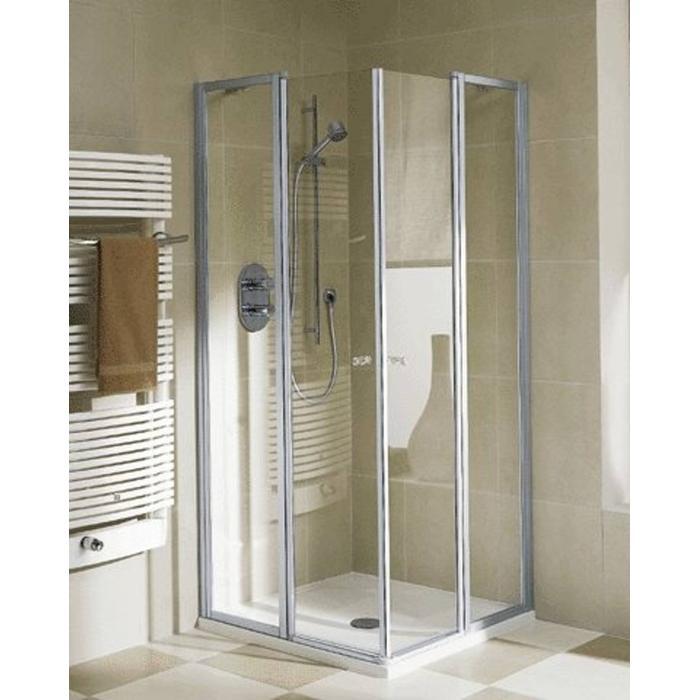 Kermi Ibiza Douchecabine Hoekinstap helft met draaideur 100x185cm Mat zilver/Helder glas