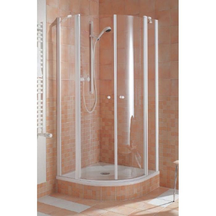Kermi Ibiza Douchecabine Kwartrond met draaideur 90x185cm Mat zilver/Helder glas