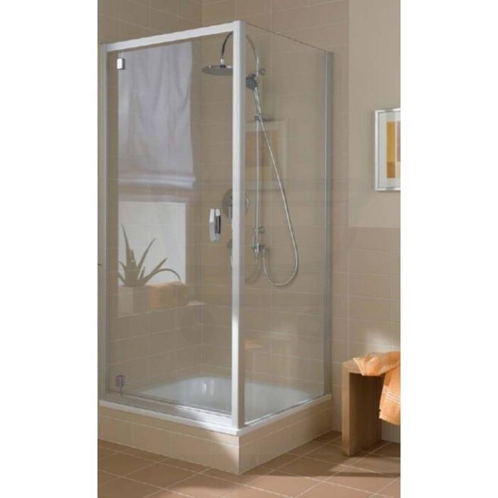Kermi Ibiza zijwand 90x185 cm. zonder profiel Matzilver-Helder Glas