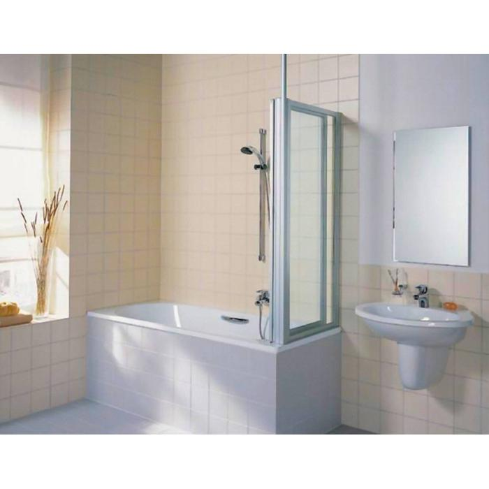 Kermi Vario badzijwand 75 cm. Matzilver-Helder Glas