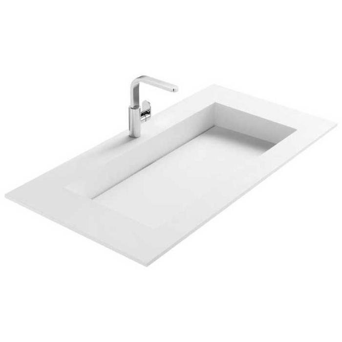 Tweedekans Thebalux Frozen Thebalux frozen wastafel Solod Surface mat wit 1xkom groot zonder kraangat 00406