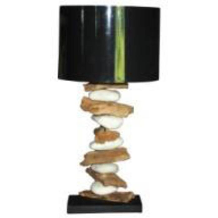 Teak & Living Lamp Wood/Stone. Zwarte kap.