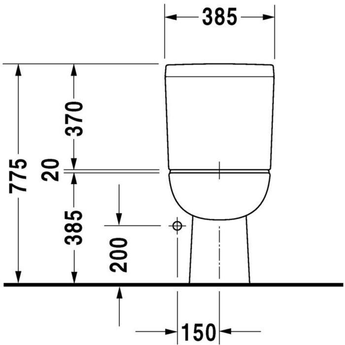 Duravit D-Code duoblokpot diepspoel 4.5 liter PK zonder reservoir wit