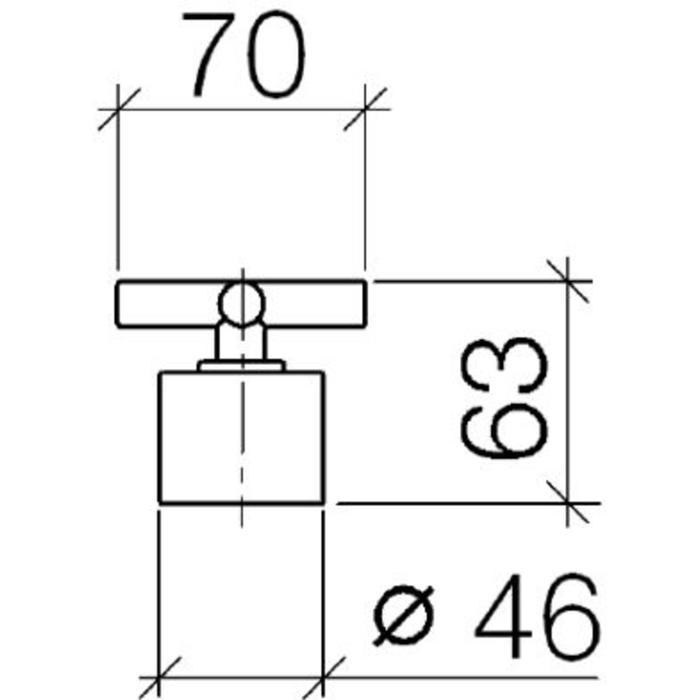 Technische tekening, Dornbracht Tara. Stopkraan Platina Mat, 1143089206