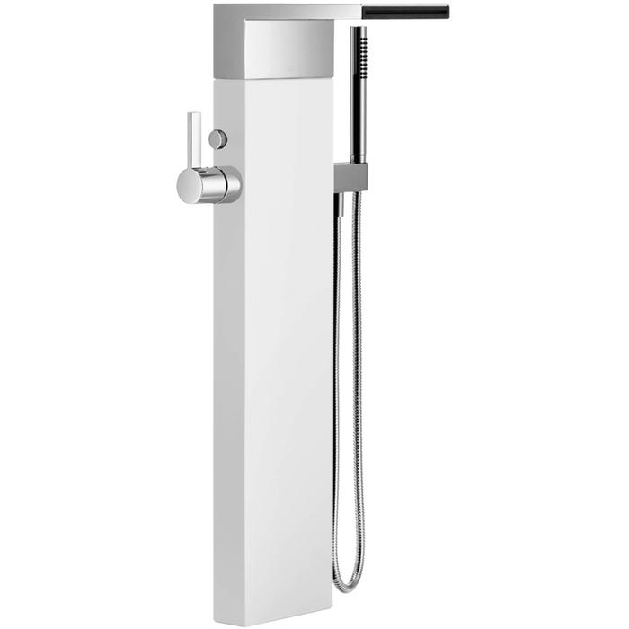 Dornbracht Eengreeps badmengkraan met watervaluitloop, voor vrijstaande montage, met douchegarnituur Platina