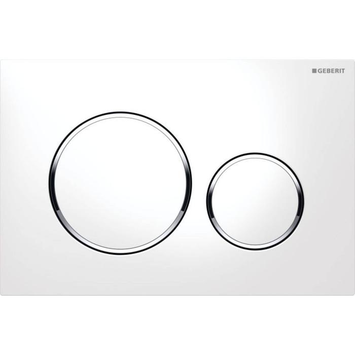 Tweedekans Geberit Sigma 20 bedieningsplaat kleuren:plaat-ring-knop Wit-Chroom-Wit 00279
