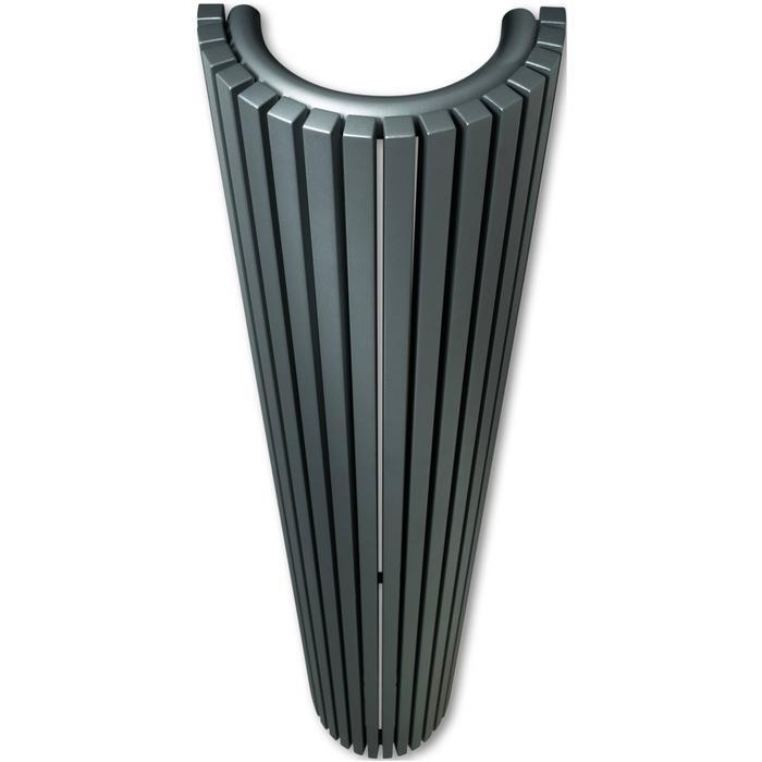 Vasco Carré Halfrond designradiator 200x35cm 1676W Platina Grijs