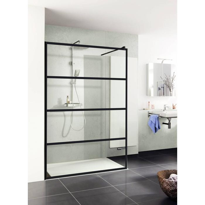 Saqu Trend inloopdouche 120x200cm helder glas/mat zwart