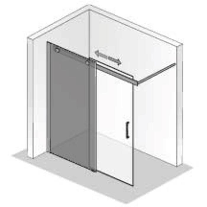 Ben Futura Schuifdeur 2-delig voor bad 120x200cm Chroom/Grijs glas