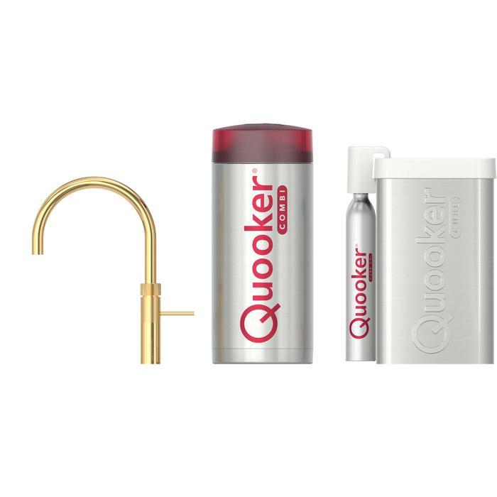 Quooker Fusion Round Goud met COMBI+ boiler en CUBE reservoir 5-in-1 kokend water kraan