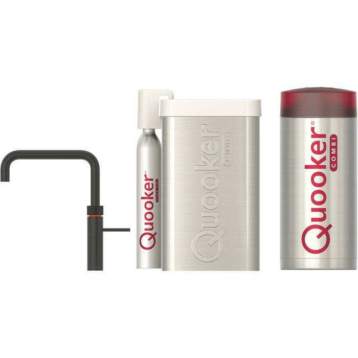 Quooker Fusion Square Zwart met COMBI boiler en CUBE reservoir 5-in-1 kraan