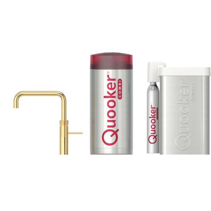 Quooker Fusion Square Goud met COMBI+ boiler en CUBE reservoir 5-in-1 kokend water kraan
