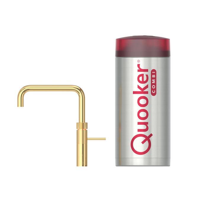 Quooker Fusion Square Goud met COMBI boiler 3-in-1 kokend water kraan