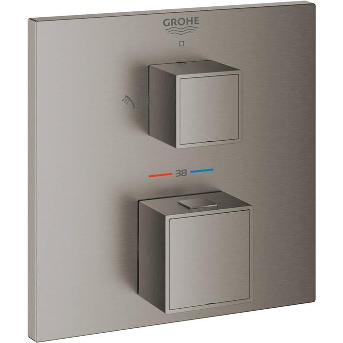 Grohe Grohtherm Cube Afbouwdeel met Omstelling 15,8x4,3x15,8 cm Hard Graphite Geborsteld