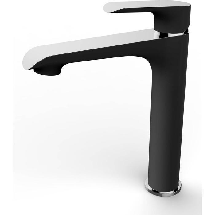 Saqu Design Collection 200 Black Edition Wastafelkraan Hoog Zwart/chroom