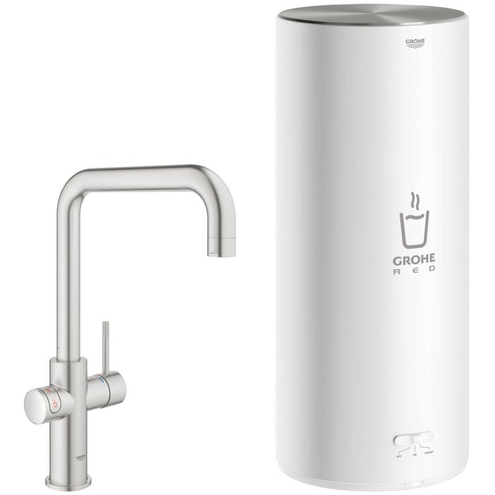 Grohe Red New Duo kokend water kraan met U-uitloop en Combi boiler supersteel