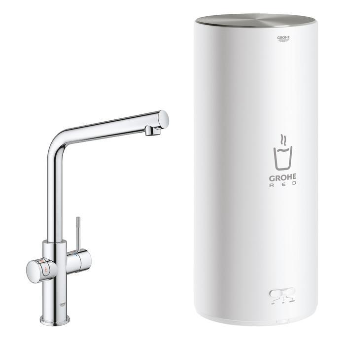 Grohe Red New Duo kokend water kraan met L-uitloop en Combi boiler chroom