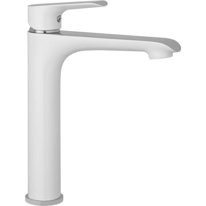 Saqu Design Collection 200 White Edition Wastafelkraan Hoog Wit/chroom