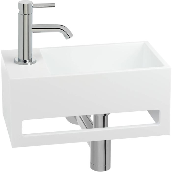 Saqu Tendenza Fonteinset Solid Surface links mat wit/chroom