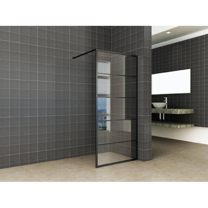 Wonderlijk Saqu Industrial Black Douchewand met Nano Glas 80x200 cm Mat Zwart XS-53