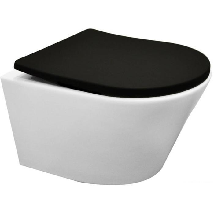 Saqu Wandcloset Junior Glans Wit met Zitting Mat Zwart