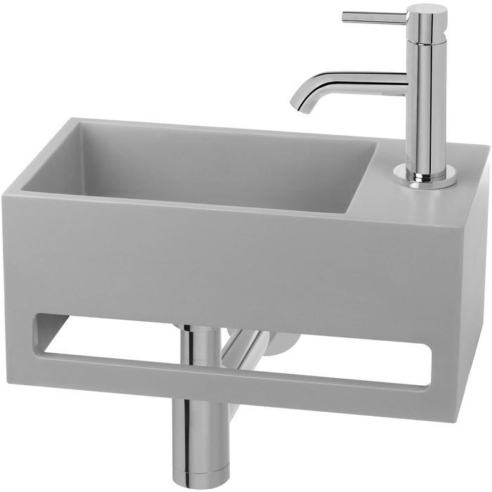 Saqu Tendenza Fonteinset Solid Surface rechts beton/chroom