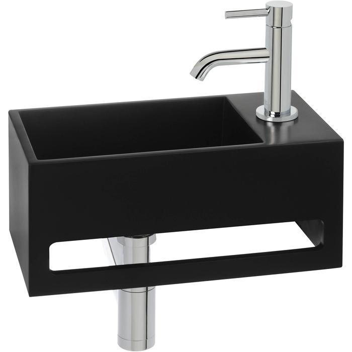 Saqu Tendenza Fonteinset Solid Surface rechts mat zwart/chroom