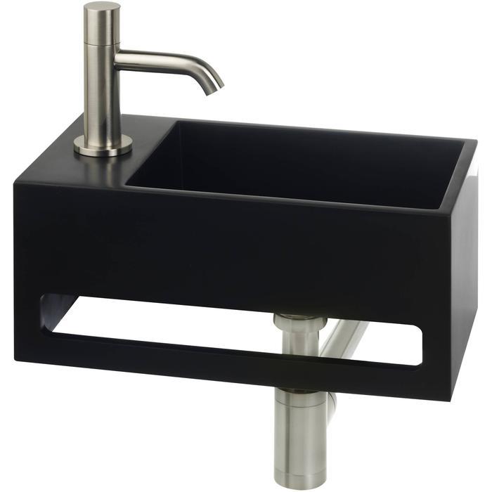 Saqu Tendenza Fonteinset Solid Surface links mat zwart/rvs