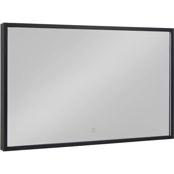 Saqu Nero Spiegel met LED verlichting en verwarming Mat Zwart 100x60 cm