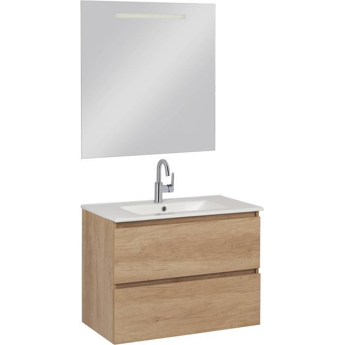 Saqu Diverso Badmeubelset Compleet 80cm inclusief spiegel Nature/Eiken