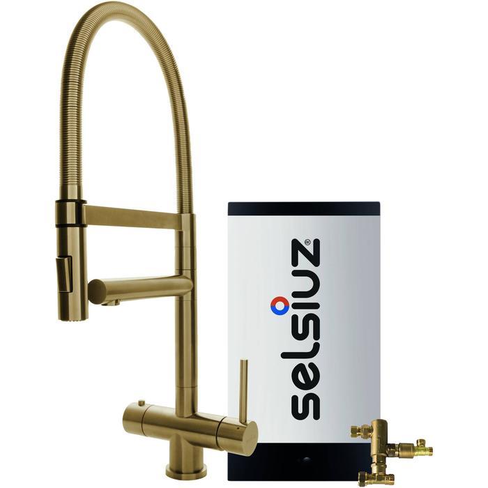 Selsiuz 3-in-1 Kokend-Water Kraan met Combi Boiler en XL Kraan Gold