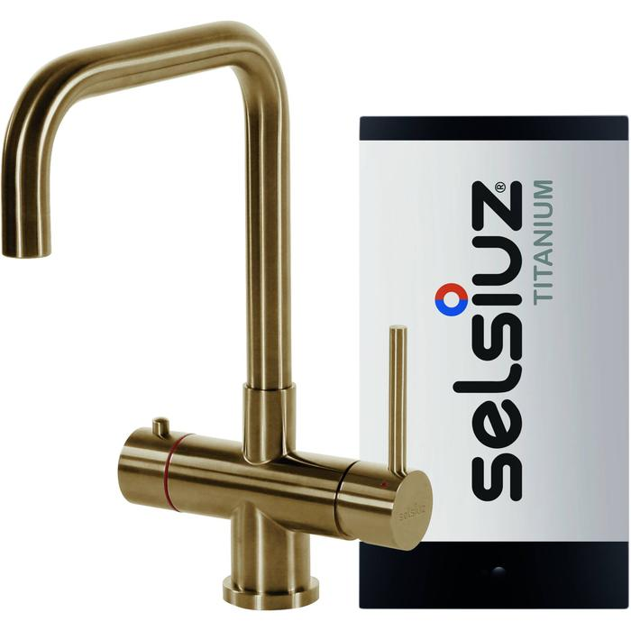 Selsiuz 3-in-1 Kokend-Water Kraan met Single Boiler en Haakse Kraan Gold