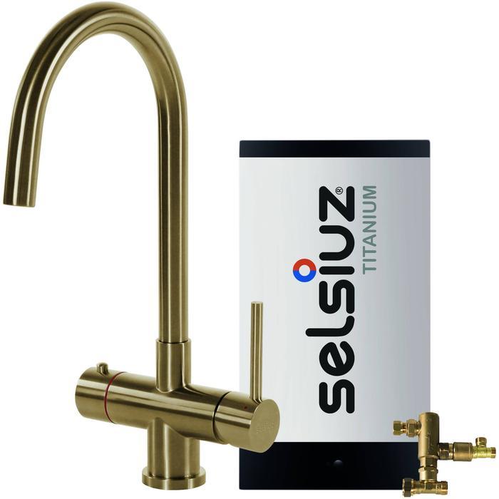 Selsiuz 3-in-1 Kokend-Water Kraan met Combi Boiler en Ronde Kraan Gold