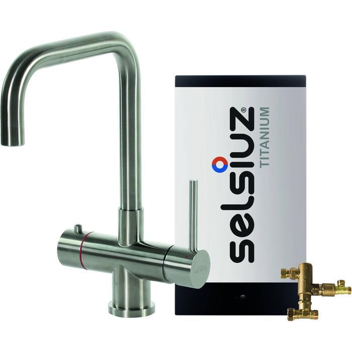 Selsiuz 3-in-1 Kokend-Water Kraan met Combi Boiler en Haakse Kraan Roestvrijstaal
