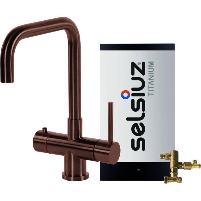 Selsiuz 3-in-1 Kokend-Water Kraan met Combi Boiler en Haakse Kraan Copper