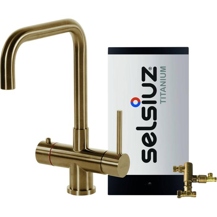 Selsiuz 3-in-1 Kokend-Water Kraan met Combi Boiler en Haakse Kraan Gold