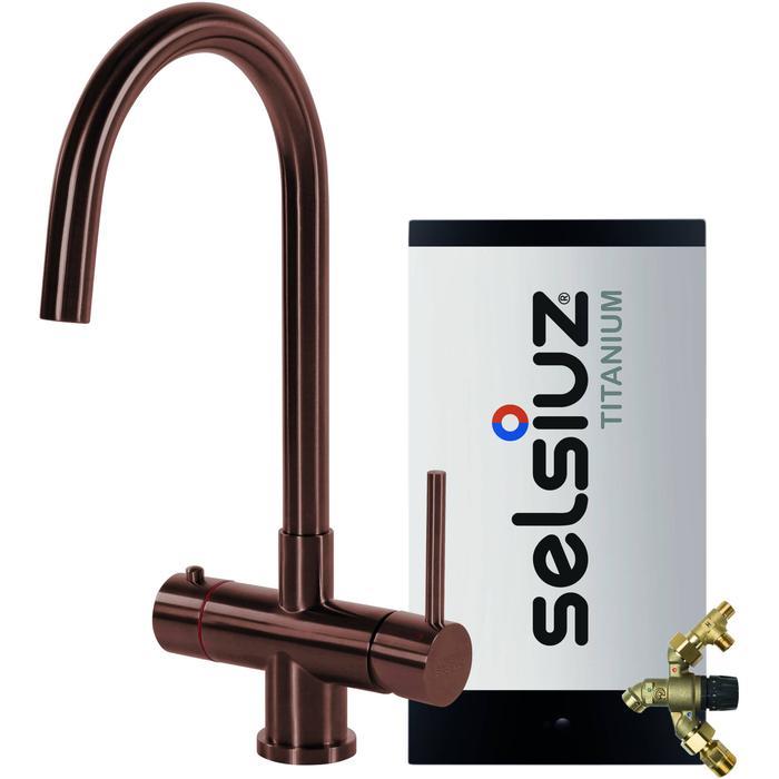 Selsiuz 3-in-1 Kokend-Water Kraan met Combi Extra Boiler en Ronde Kraan Copper