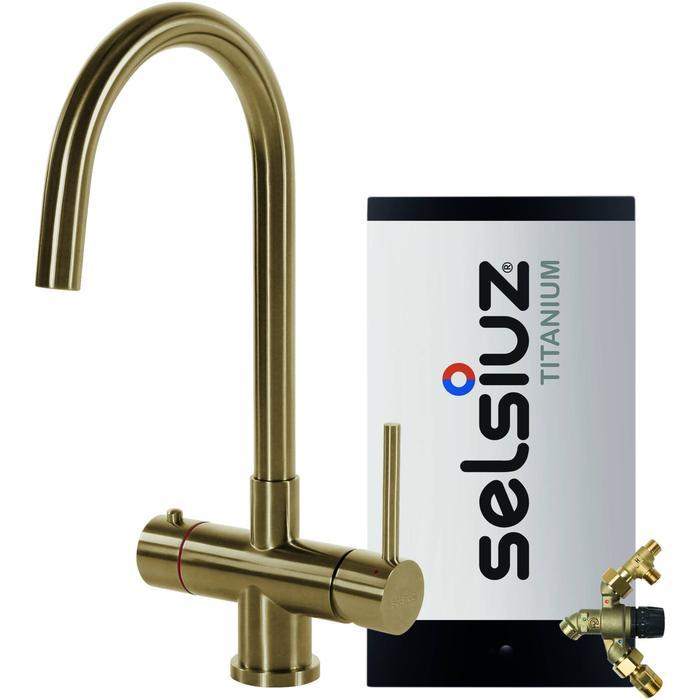 Selsiuz 3-in-1 Kokend-Water Kraan met Combi Extra Boiler en Ronde Kraan Gold