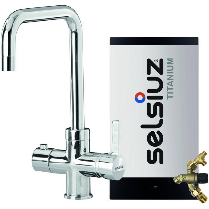 Selsiuz 3-in-1 Kokend-Water Kraan met Combi Extra Boiler en Haakse Kraan Chroom