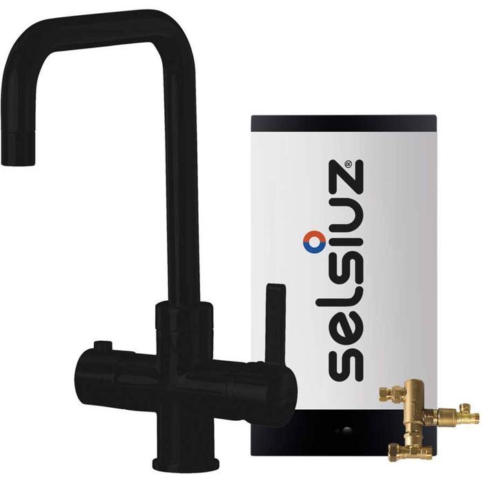 Selsiuz 3-in-1 Kokend-Water Kraan met Combi Boiler en Haakse Kraan Zwart