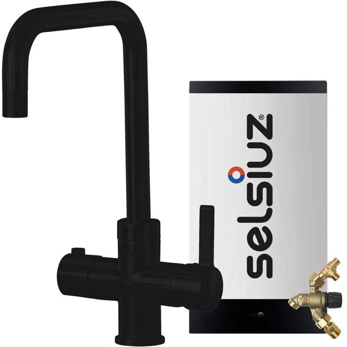Selsiuz 3-in-1 Kokend-Water Kraan met Combi Extra Boiler en Haakse Kraan Zwart