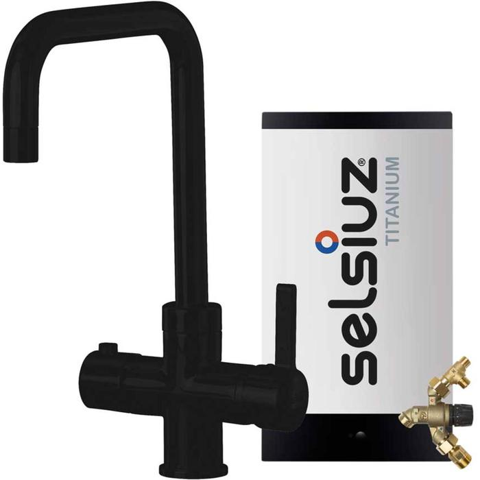 Selsiuz 3-in-1 Kokend-Water Kraan met Single Boiler en Haakse XL Kraan Zwart