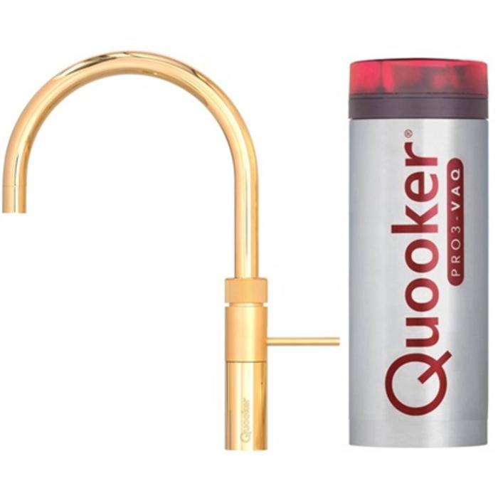 Quooker Fusion Round Goud met PRO3 boiler met PRO3 boiler 3-in-1 kokend water kraan
