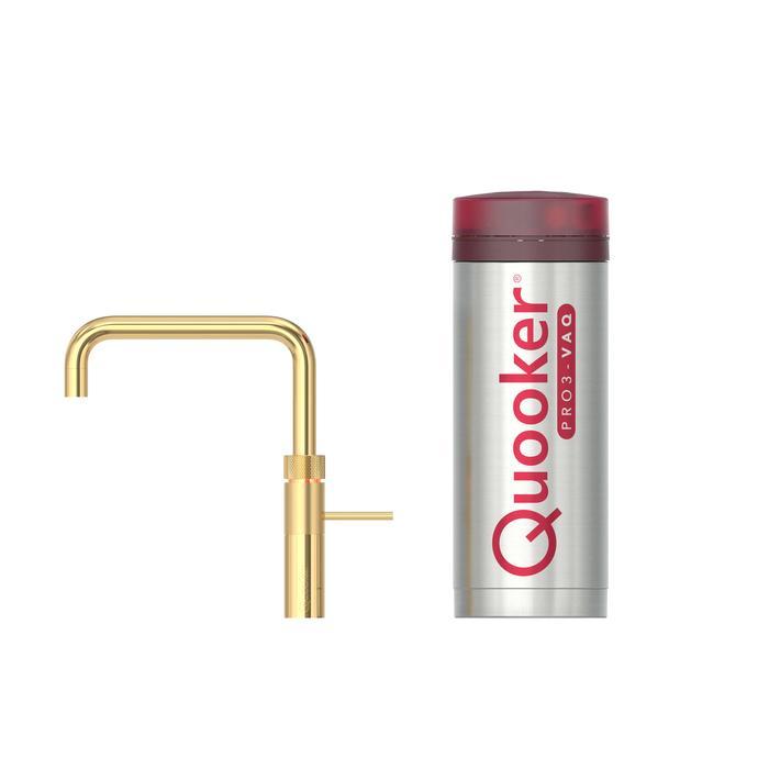 Quooker Fusion Square Goud met PRO3 boiler met PRO3 boiler 3-in-1 kokend water kraan