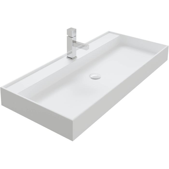 Thebalux Snow wastafel Solid Surface 2 kraangaten 100,2x45x10cm Mat wit