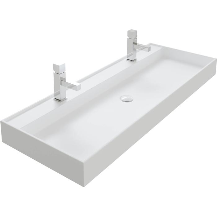 Thebalux Snow wastafel Solid Surface 2 kraangaten 120,2x45x10cm Mat wit