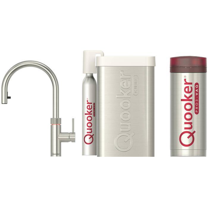 Quooker Flex RVS met PRO3 boiler en CUBE reservoir 5-in-1 kraan