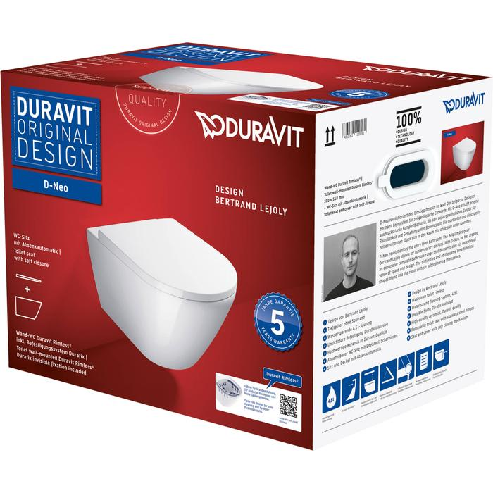 Duravit D-Neo hangtoilet met toiletbril en durafix 37x54x40cm Wit