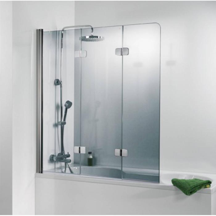 Ben Martino Soft 3-delige Badklapwand 114x140cm Chroom / Helder Glas